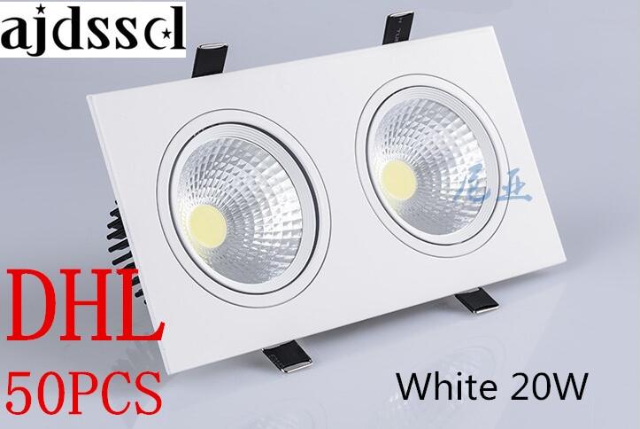50pcs double white square Dimmable Led downlight light COB Ceiling Spot Light 2x10W 20w ceiling recessed Lights Indoor Lighting in LED Downlights from Lights Lighting