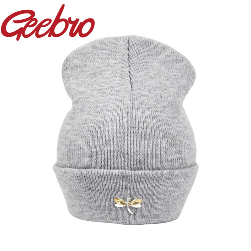 da3f2a2922ad6 Geebro Dragonfly Crystal Accessory Beanies Warm Knitted Hat for Women Hip  Hop Cute Winter Caps Female Hat Bonnet Gorros JS221