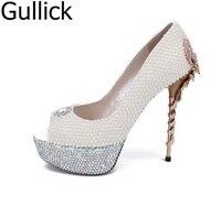 Горячая распродажа; женская обувь белый жемчуг кристалл украшение открытый носок обувь без шнуровки Летние босоножки на металлическом каб