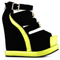 LF38823 Sexy Black White Peep Toe Buckle Strappy Wedge Platform Sandals