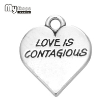 20Pcs Hand-made Letter Love Is Contagions Charm Heart Jewelry