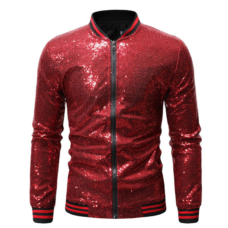 Image 4 - Shiny Sequins Sparkle Bomber Jacket Men 2019 Newest Gold Glitter Striped Zipper Mens Jackets And Coats Party Dance Show Clothes-in Jackets from Men's Clothing