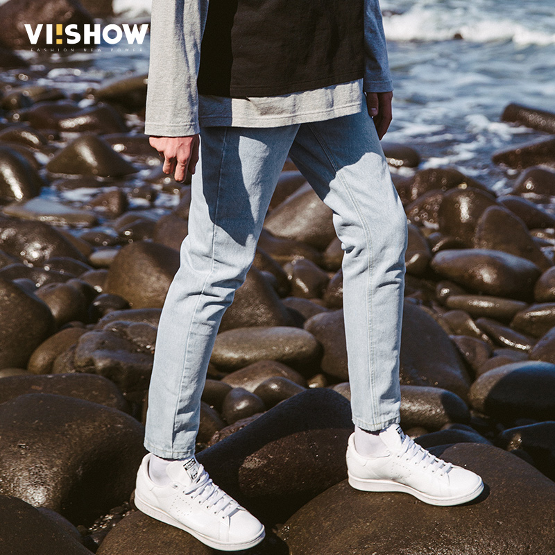цены VIISHOW 2017 New Blue Jeans Mens Brand Clothing Fashion Denim Pants Top Quality Casual Slim Fit Biker Jeans For Men NC1948173