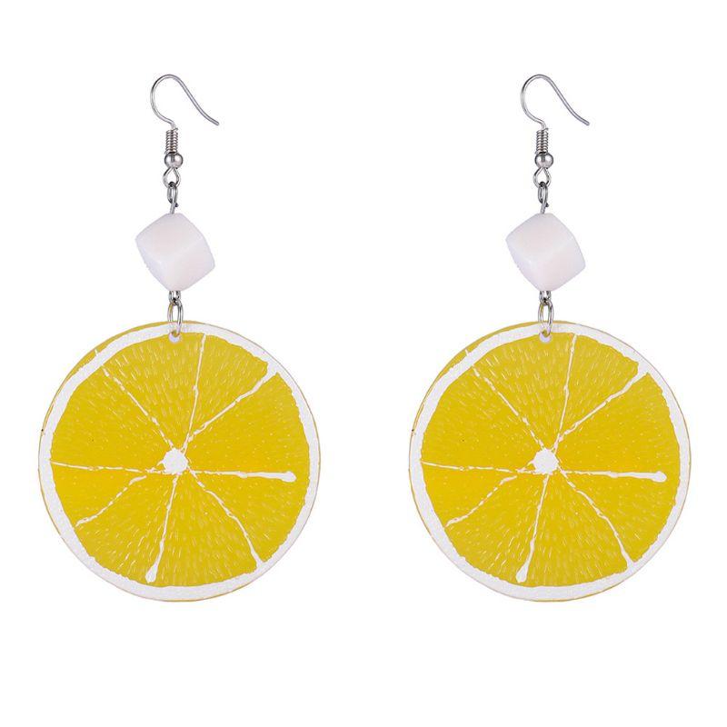 Summer Resin Fresh Lemon Orange Slice Drop Earrings Women Acrylic Fruit Jewelry