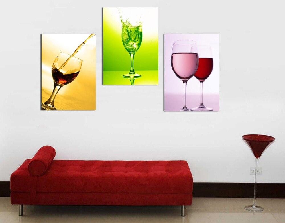 3 paneles hot copas de vino botella de cuadros de la pared for Paneles para paredes de cocinas y precios