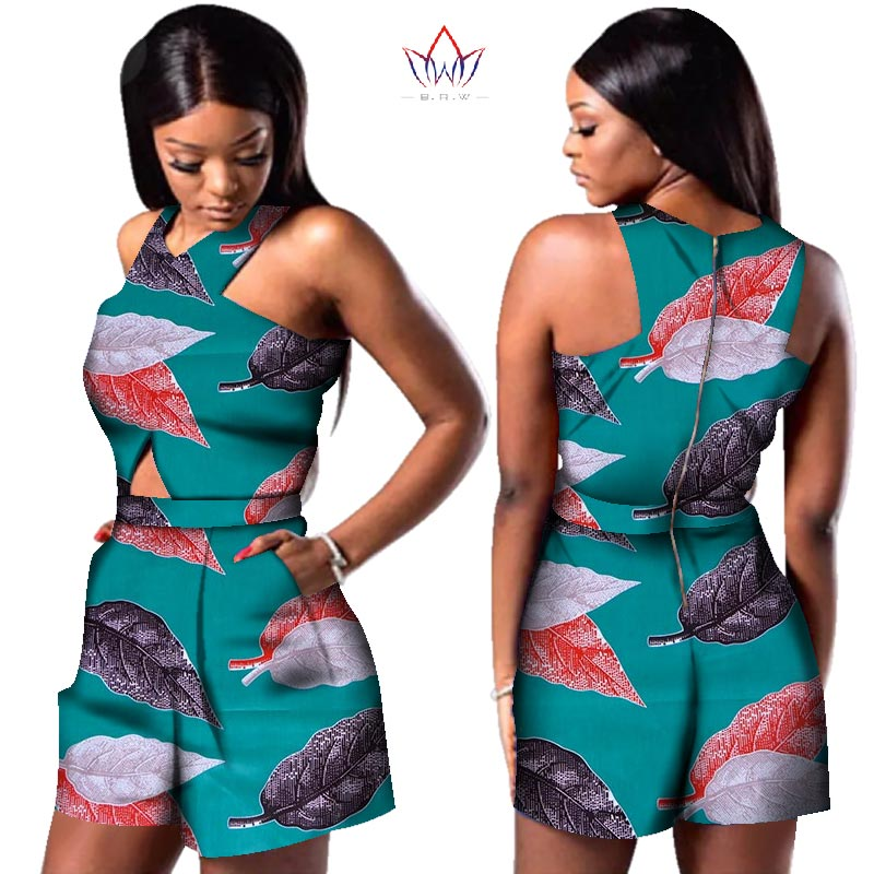 Bazin African Wax Print Dashiki Jumpsuit Plus Size Sleeveless Romper Jumpsuit Cloak Playsuit African Clothes for Women WY3249 1