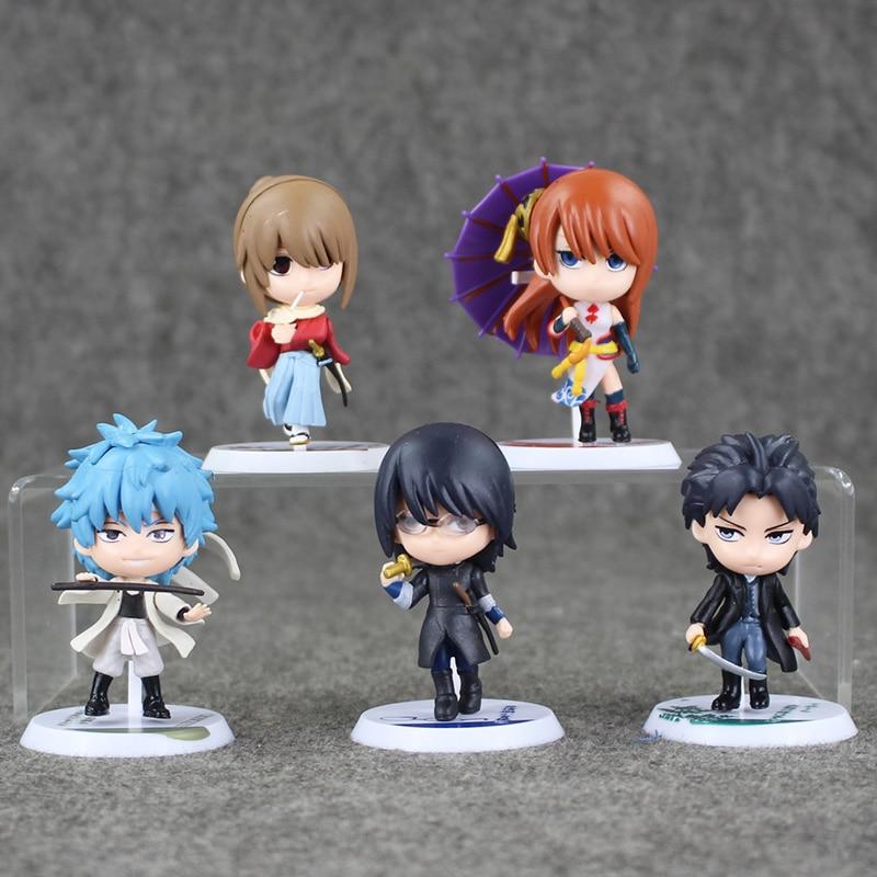 5Pcs/Lot Silver Soul GINTAMA Figure PVC gintama action figure Japanese anime figure Q version Best kid toys 6.5-7cm