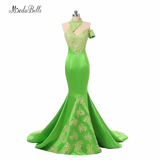 modabelle High Neck Ladies Formal Dress Women Lace Abiye 2017 Dubai Gold  Applique Green Mermaid Evening Dresses Long Party Dress 980a32158258