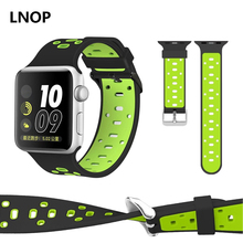 Silicone sport band strap for apple watch 3 42/38mm wrist bracelet belt rubber bands stainless-steel metallic buttons watch straps