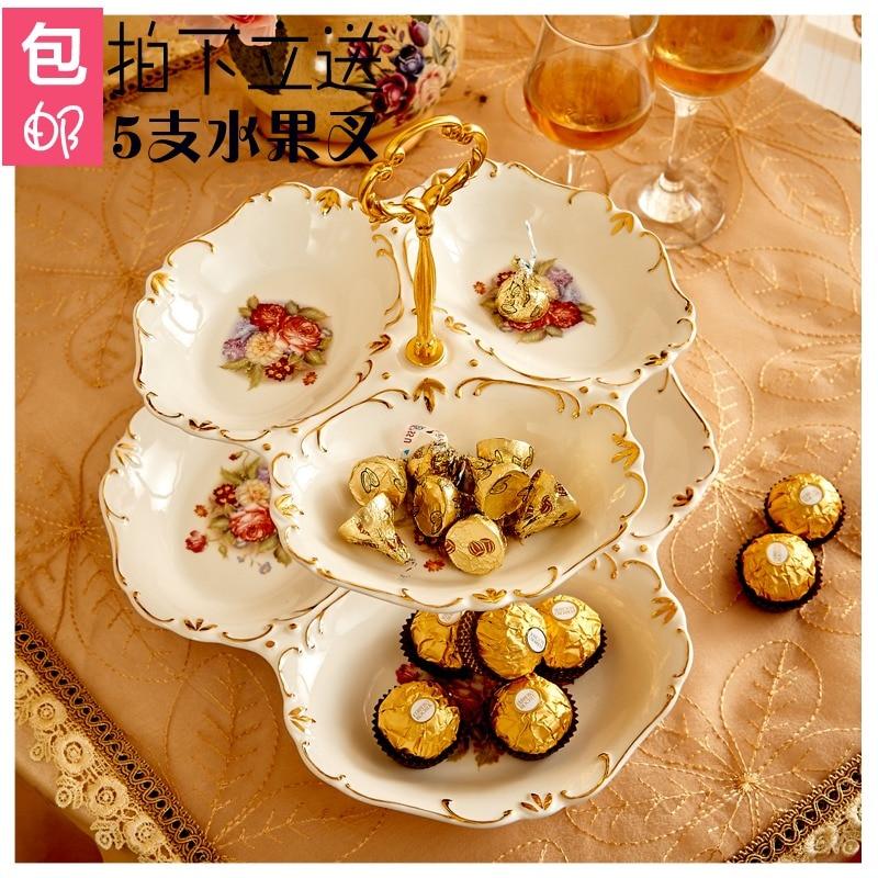 Double couches gâteau stand gâteau plaque collation plat vaisselle assiette à dessert de style européen