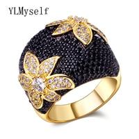 Grote Zwarte bloem vinger ring Sieraden cz Stenen Goud kleur Grote ringen voor vrouwen mode-sieraden luxe accessoires
