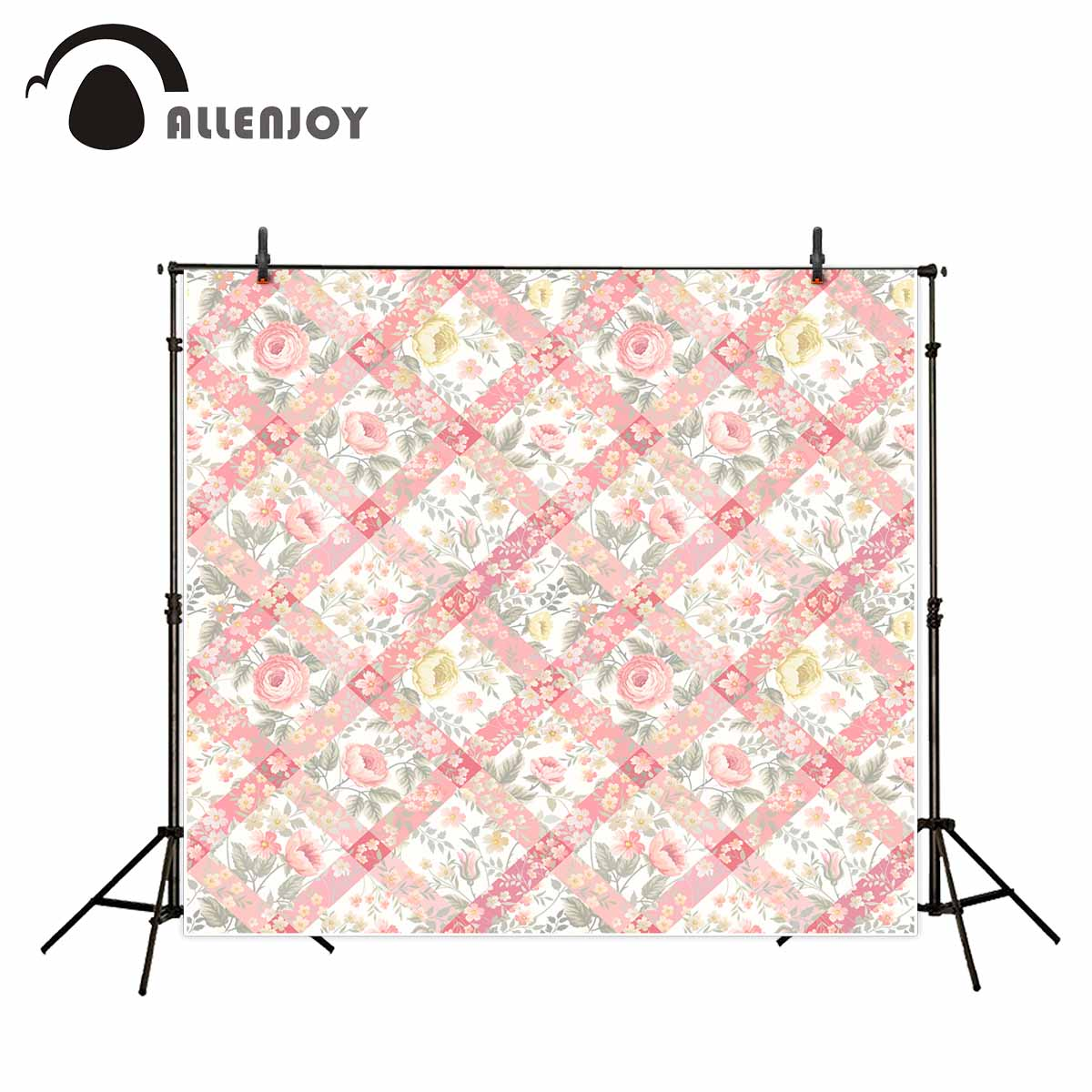 Allenjoy photography backdrops Pink flower grid stripes beautiful background background for photo fond studio photo ...
