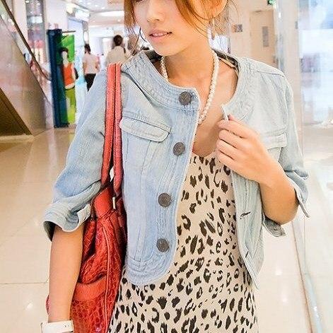 Autumn Fashion Women Vintage Cropped Denim   Jacket   Long Sleeve Short Jeans   Jacket   Coats Classical   Basic     Jackets   Outwear