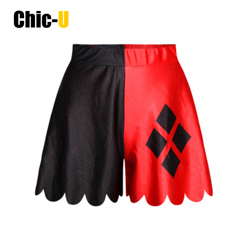 women shorts skirts cotton half red and half black diamond ...