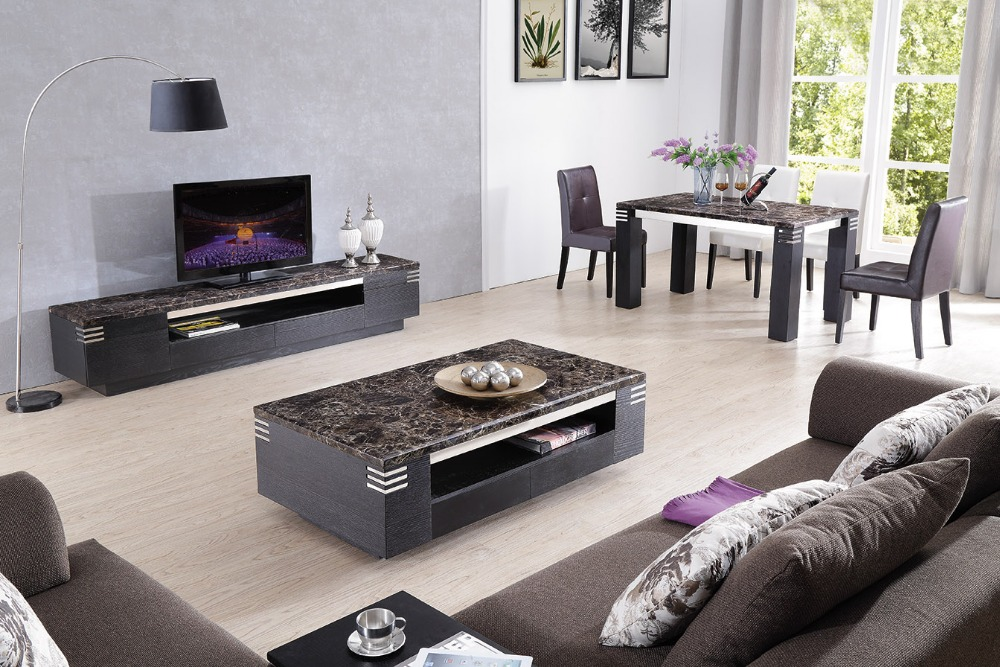 Lizz black living room furniture TV stand and coffee table TV