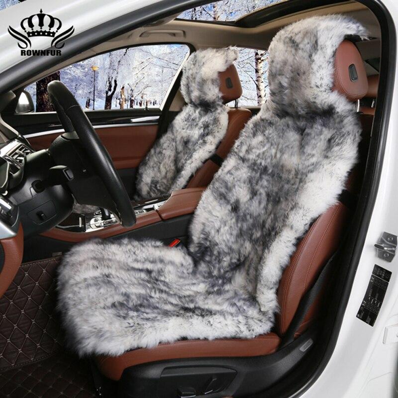 1 pz, 2 pz, 1 SET Capelli Lunghi copertura di sede dell'automobile, pelliccia Naturale pelle di pecora coprisedili, nero-colore bianco, seat covers universale per auto kalina