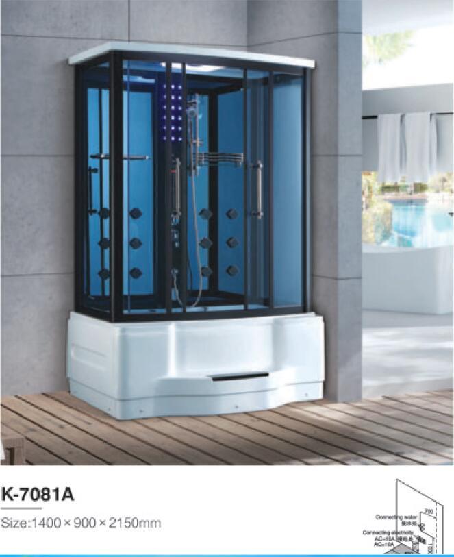 1400X900X2150mm Luxury Bathroom Steam Shower Enclosure Computer Control Wet Sauna Room 7081A
