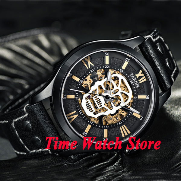 Parnis 45mm skeleton dial Dual time zone sapphire glass PVD case MIYOTA Automatic movement Men's watch wristwatch 572|wristwatch mens|wristwatch mens automatic|wristwatches automatic - title=