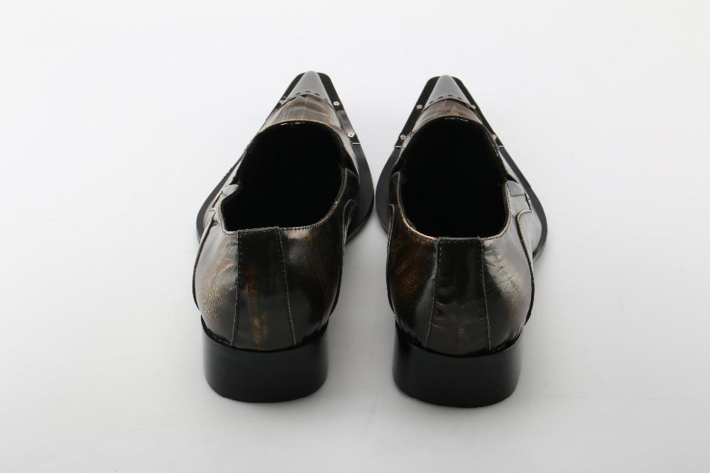 Beertola Noiva Metal Sapatos Couro Picture De Negócios on Chaussure Dedo Slip Homme Genuíno Retro Vestido Sólida 2018 As Homens Apontado Shoes fwYxgUrfq
