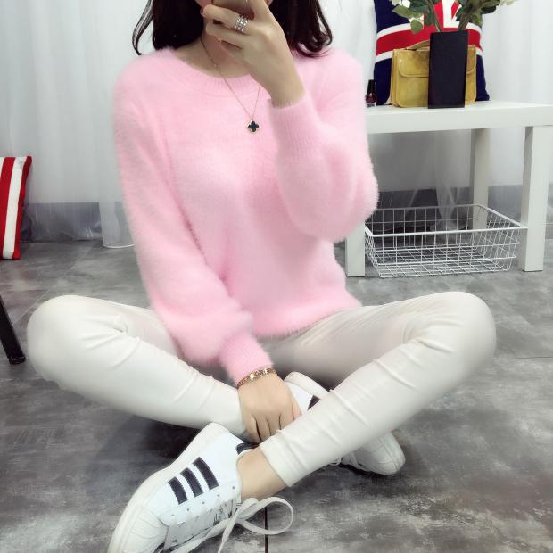 2018 Winter Casual Sweater Women Long Sleeve Loose Thick Turtleneck Pullovers Female Solid Mohair Girl Sweater Coat