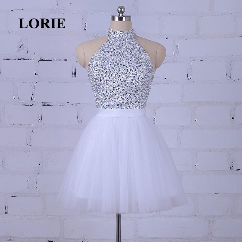 LORIE Hvit Prom Dress For Graduation Halter A-Line Beaded Krystaller - Spesielle anledninger kjoler - Bilde 2