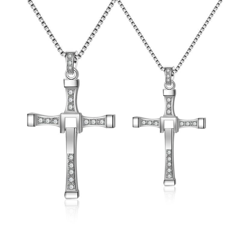 100% Genuine 925 Sterling Silver Jewelry Male Men's Cross Pendant Necklace Fashion Dominic Toretto Choker Heavy Necklace cross alloy choker necklace