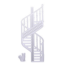 Spiral Stairs Cat Design Cutting Dies Stencil for DIY Scrapbooking Album Dairy Card Decoration Embossing Metal Dies Cuts(China)