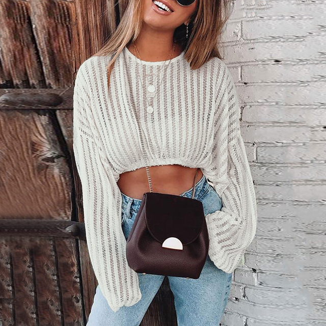 Womens Knitted Short Crop Tops Spring Summer Loose Pullovers Ladies Fashion Casual Plus Size Clothes Female Knitting Sweaters