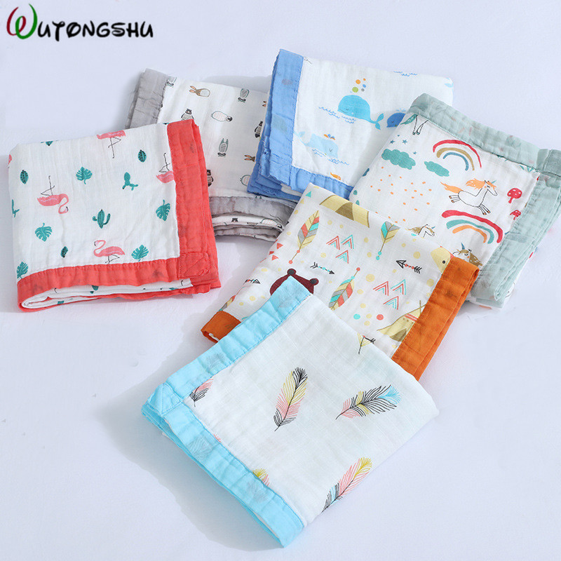 4 Layers Bamboo Baby Muslin Blanket Newborn Swaddles Soft Newborn Blankets Bath Gauze Infant Wrap Sleepsack Multi-use Diaper