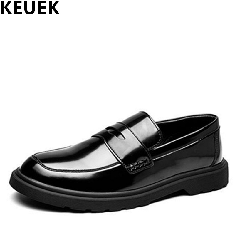 Large Size Luxury Men Leather Shoes Slip On Fashion Popular Shoes Male Flats England Style Business Loafers Black 3A