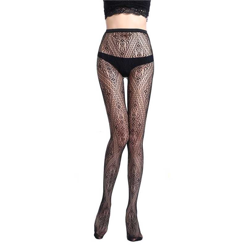 d367910f8a965 ... Soft Mesh Women's Tights Sexy Lady Stockings Tattoos Jacquard Elastic  Lace Top Garter Belt Thigh Black ...