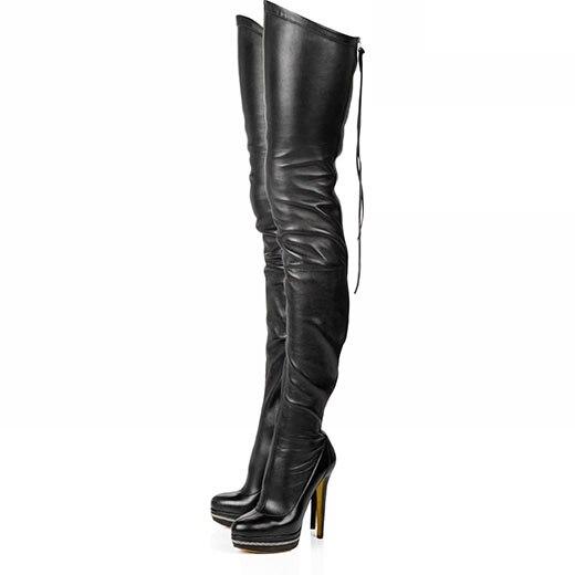 ФОТО 2017 Plus Size  New Arrival Women Boots Supter Star Bland High Heels Platform knight Zipper Knee High Warm Bootd Pumus