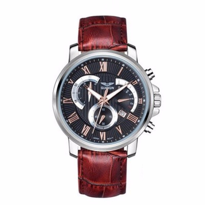 quartzo de luxo masculino relógio de pulso de couro para homem