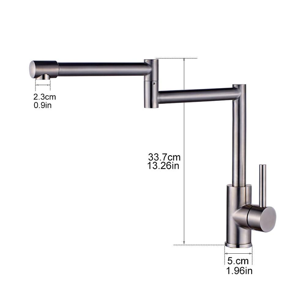 Купить с кэшбэком FLG 304 Stainless Steel Kitchen Sink Taps 360 Degree Rotatable Nickel Kitchen Faucet Folding Single Handle Mixer Tap Faucet
