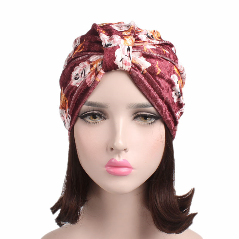 2017 Autumn Winter Rose Printed Headband Velvet Indian Hat Chemotherapy Cap TJM-280 Boho 3 Colors Hair Accessories Free Shipping