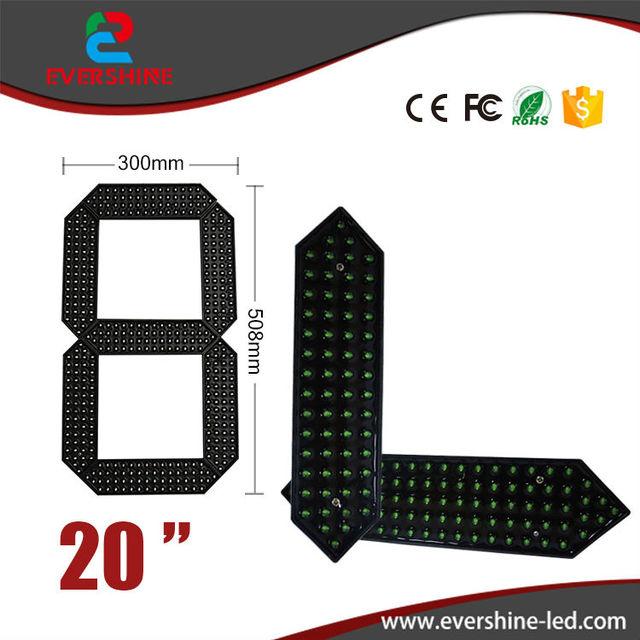 "20"" Green Color outdoor Waterproof led Gas Price Digita Numbers Module LED Digital Display 7 Segment Module"