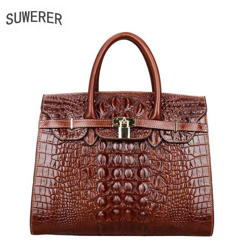 New Genuine Leather women bags Fashion Embossed Crocodile pattern luxury handbags women bags designer women leathe цена 2017