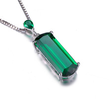 JewelryPalace Fancy Cut 4.4ct Created Emerald 925 Sterling Silver Pendant Wholesale Price No Necklace