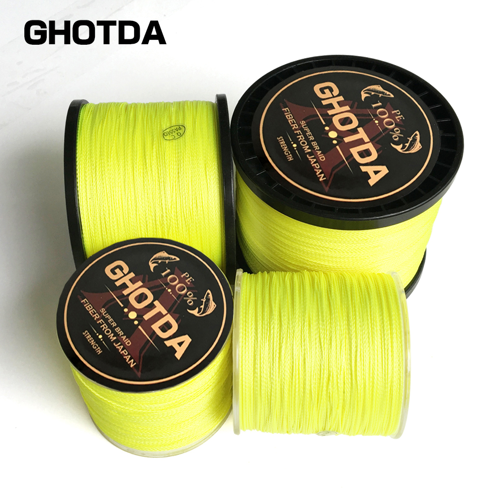 4 Strand Japan Super Strong PE Braided Fishing Line Multifilament Fishlb Line 300/500/1000m Braid Thread Yellow 4 Braid 10-80lb