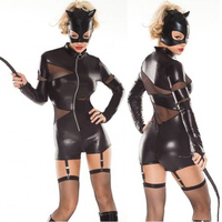 2016 Wholesale Feline Domineer Costume Black Adult Vinyl Leather Mesh Patchwork Catwoman Halloween Costume Cosplay Bodysuits