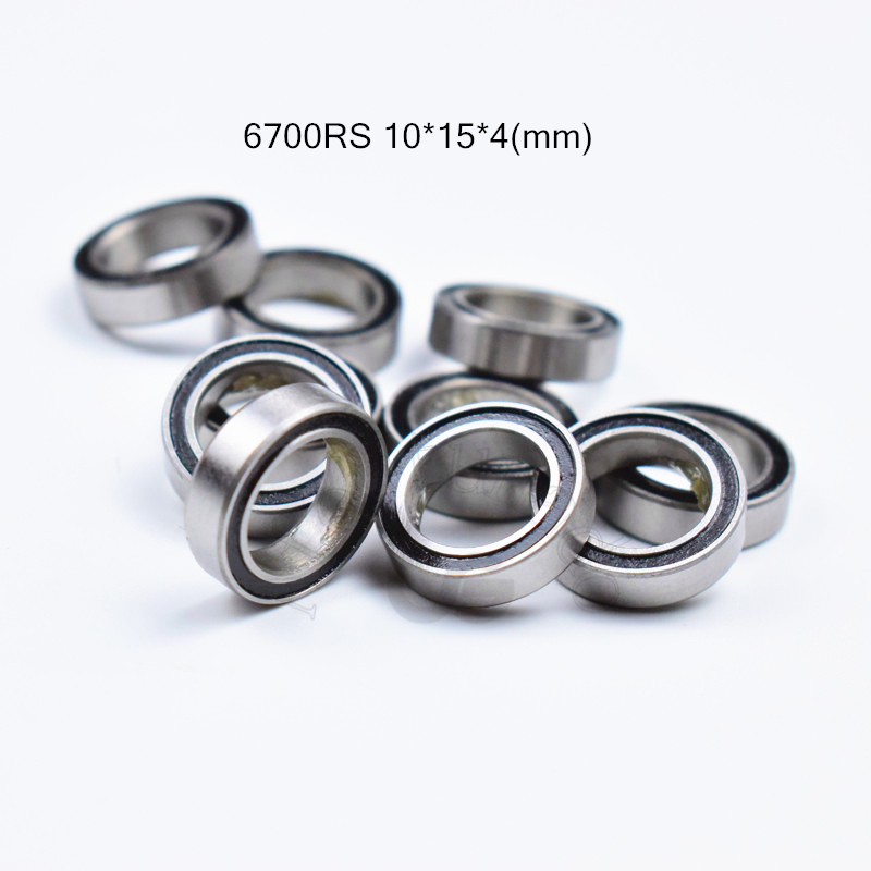 <font><b>6700RS</b></font> 10*15*4(mm) 10pieces free shipping bearings ABEC-5 61700 6700 63700 chrome steel bearing rubber seal bearing image