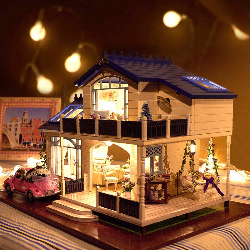 1:24 DIY Handcraft Miniature Doll house Voice-activated LED Light&Music with Cover Provence Handmade 3D Dollhouse Toys Girl Gits large size diy wooden miniatura doll house with light music furniture handmade 3d miniature dollhouse toys wedding gits