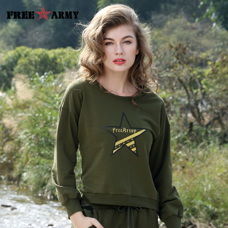 Free Army Brand New Fashion Hoody Casual Style Women Hoodies Army Green Camouflage O-neck Long Sleeve Sweatshirt GS-8716A/B