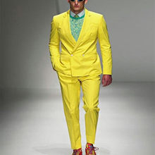 Double Breasted Suit 2019 Stylish Yellow Paris Fashion Show Suits Men's Formal Occasion Wear suit Party Men Tuxedos(Cost+Pants)(China)