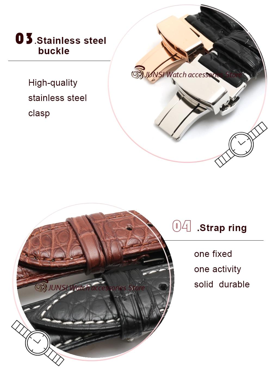 Jacaré 12-24 milímetros assista bracelete handmade assista