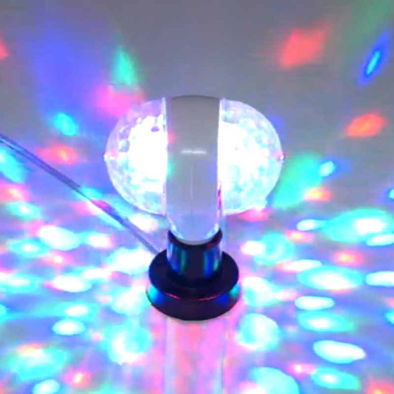 2016 Hot Sale Magic Double Balls DJ Party Disco Effect Bulb 6W E27 110v 220v Colorful Auto Rotating RGB Crystal Stage Light Bulb mini rgb led party disco club dj light crystal magic ball effect stage lighting