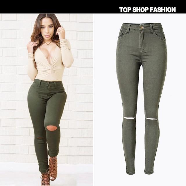 2016 Big plus size high waist elastic cotton women army green torn jeans ripped hole knee skinny pencil pants slim denim capris