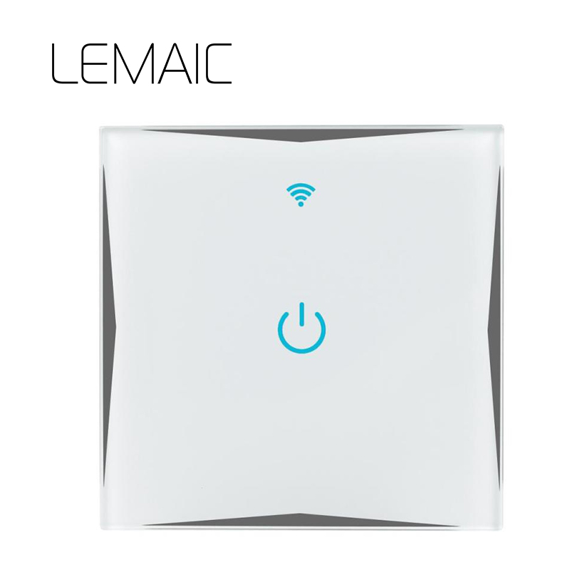 LEMAIC 1 Way 1 Gang Luxury Glass Panel Via Itead Sonoff Touch Switch Wifi LED Light Wall Smart Home Remote Control Switches
