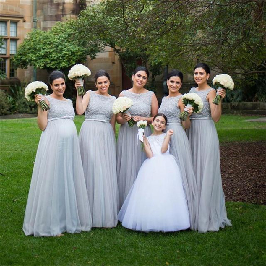 Sliver Tulle Long   Bridesmaid     Dresses   A Line Floor Length Beaded Appliques Elegant Maid Of Honor   Dress   2019 Cheap Party Gowns