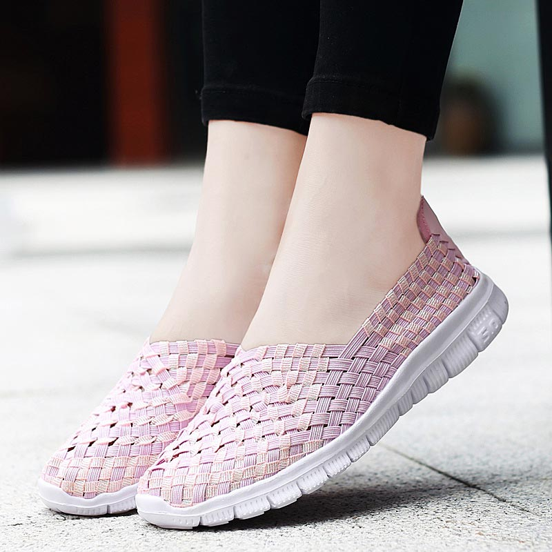 Large Size Woven Women Sport Sneakers Summer Running Shoes For Women Breathable Tennis Femme Light Weight Sports Slip-on B-328